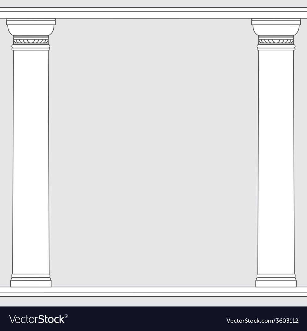 Black and white line drawing doric order columns vector | Price: 1 Credit (USD $1)