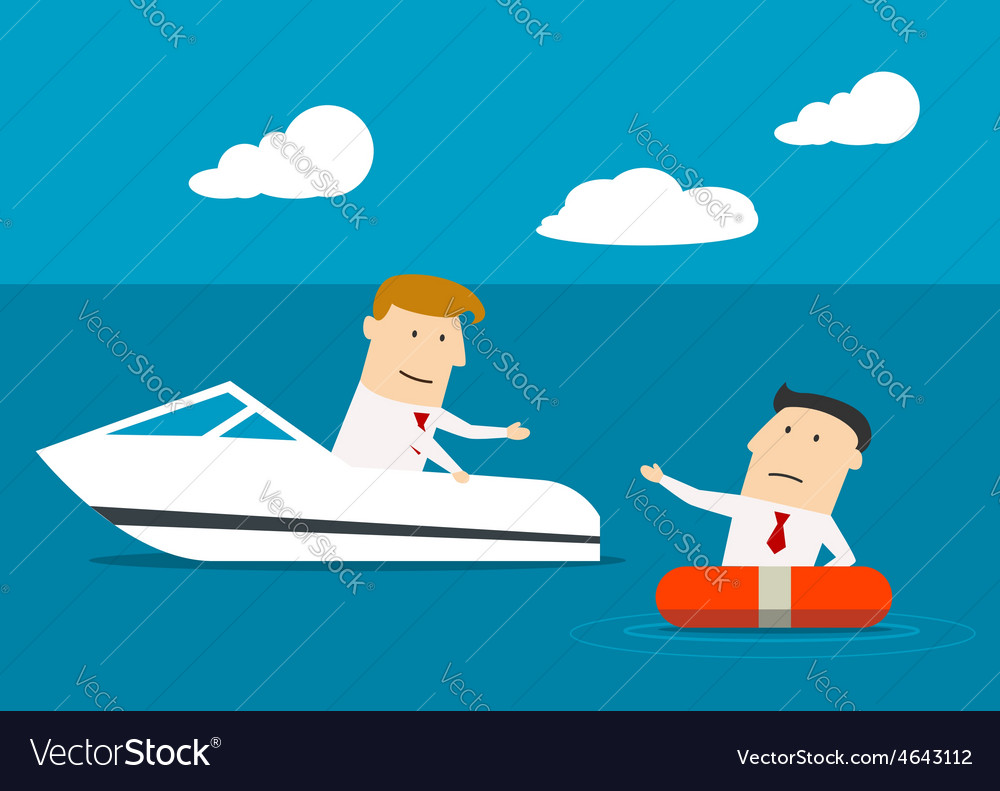 Businessman rescues another man at sea vector | Price: 1 Credit (USD $1)