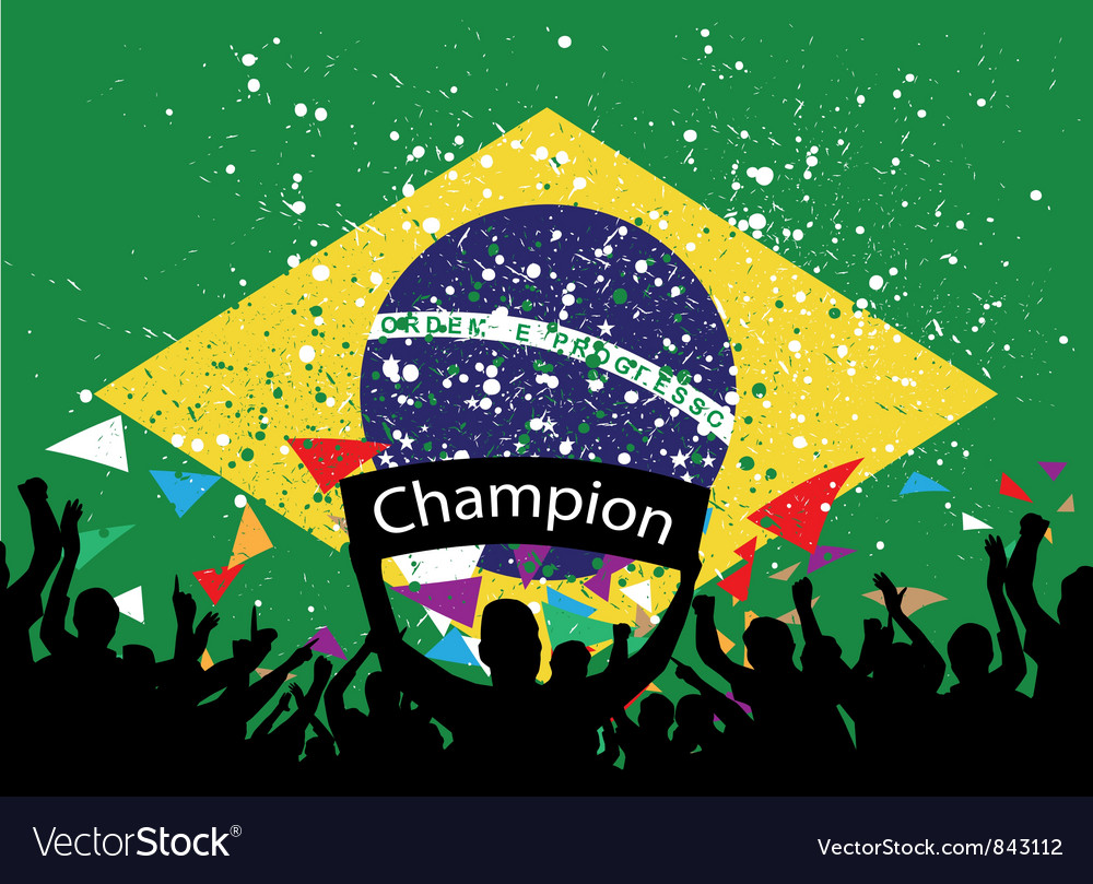 Crowd cheer brazil vector | Price: 1 Credit (USD $1)