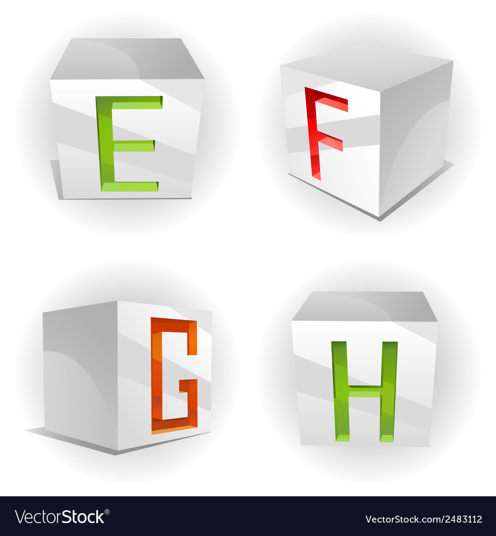 Cube alphabet letters efgh vector | Price: 1 Credit (USD $1)