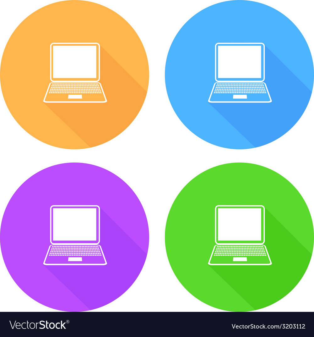 Flat long shadow laptop icons set vector | Price: 1 Credit (USD $1)