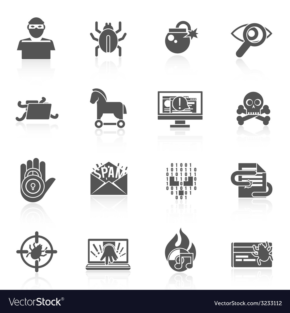 Hacker icons black set vector | Price: 1 Credit (USD $1)