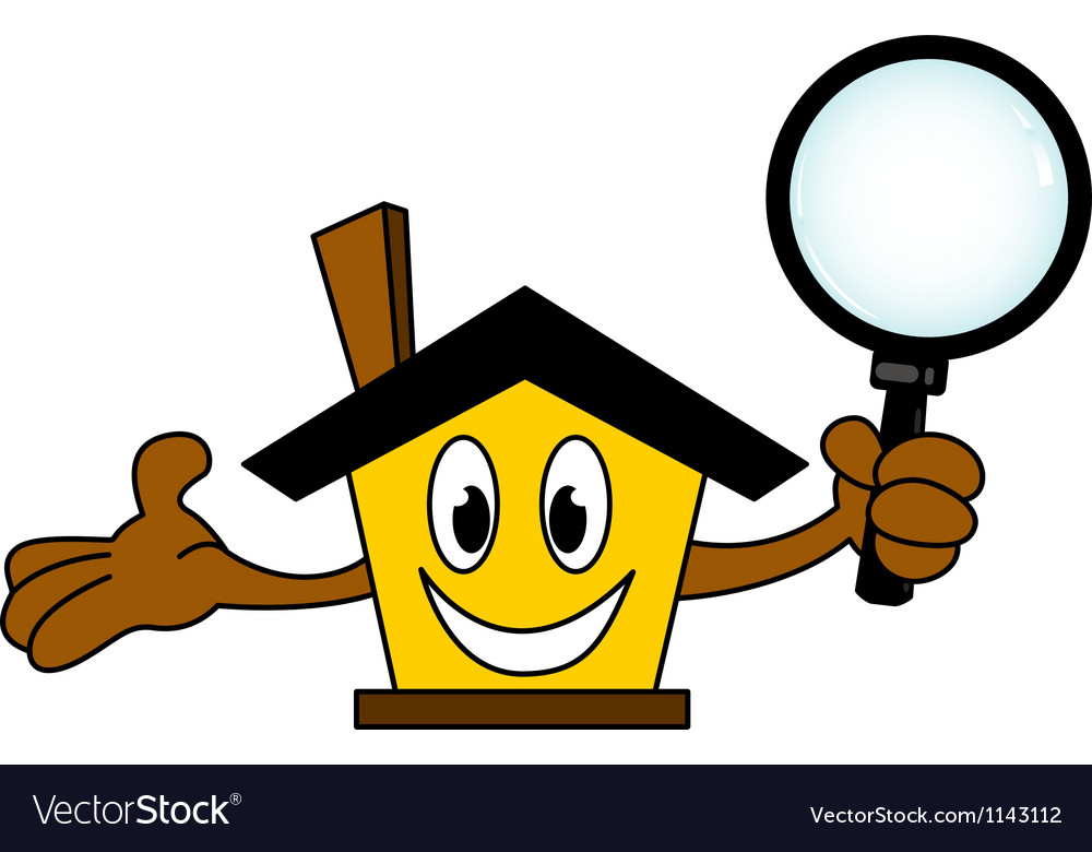 House cartoon holding magnifying glass vector | Price: 1 Credit (USD $1)