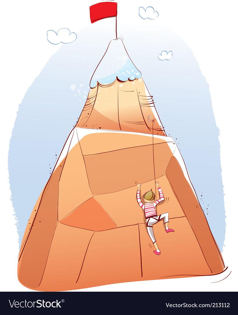 Man climbing mountain vector | Price: 1 Credit (USD $1)