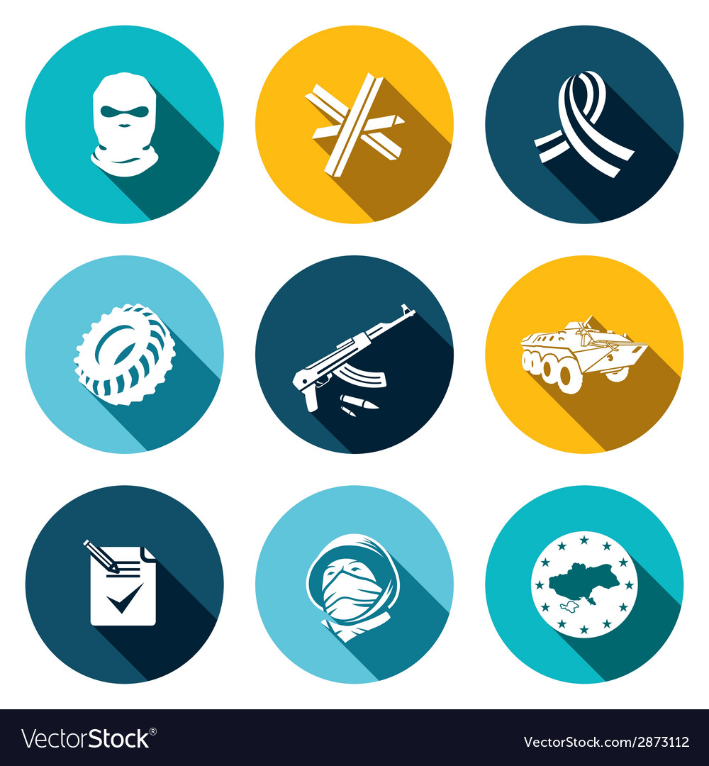 Opposition flat icon set vector | Price: 1 Credit (USD $1)