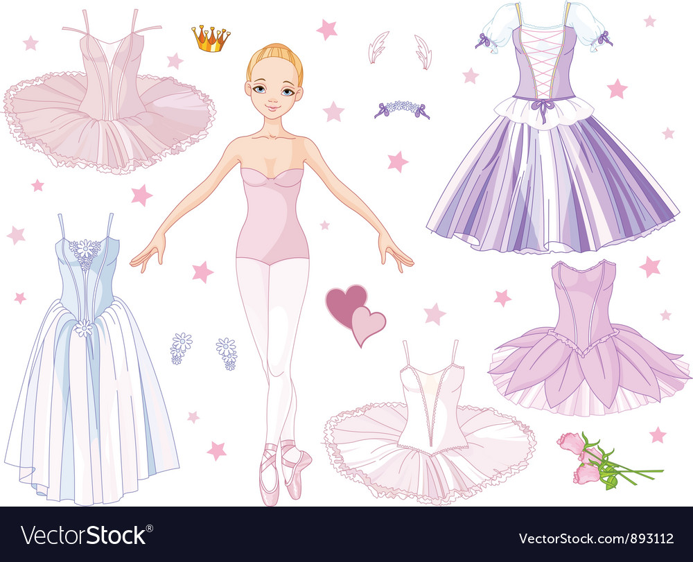Paper doll ballerina vector | Price: 3 Credit (USD $3)