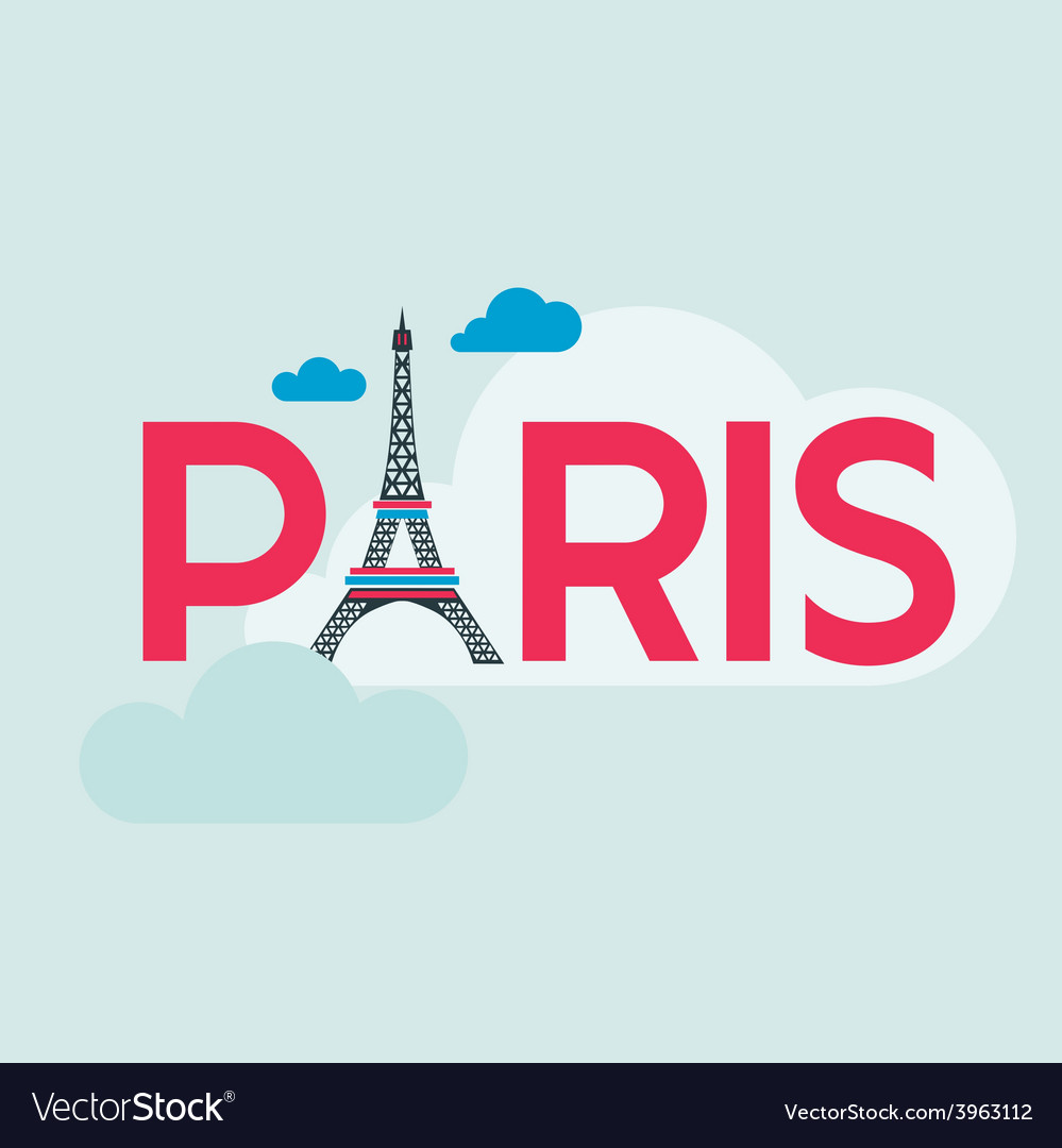 Paris card - with eiffel tower vector | Price: 1 Credit (USD $1)