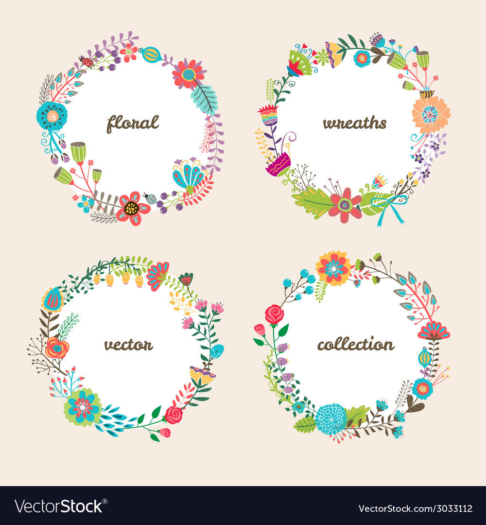 Set of four colorful floral wreaths vector | Price: 1 Credit (USD $1)