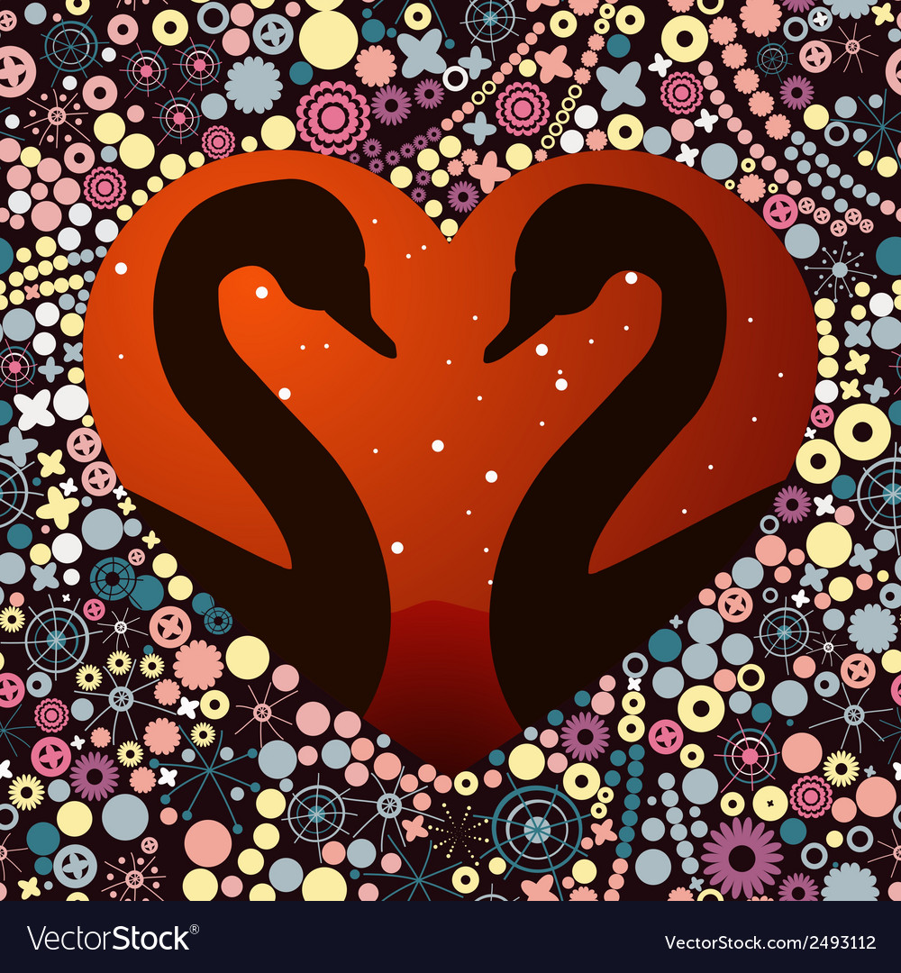 Swans in love vector | Price: 1 Credit (USD $1)
