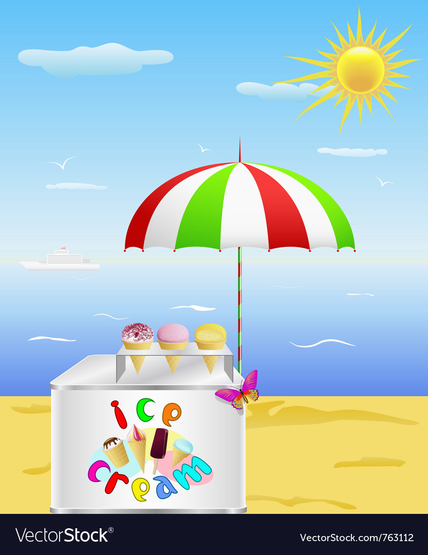Tray with cold ice cream is on the beach in the ho vector | Price: 1 Credit (USD $1)