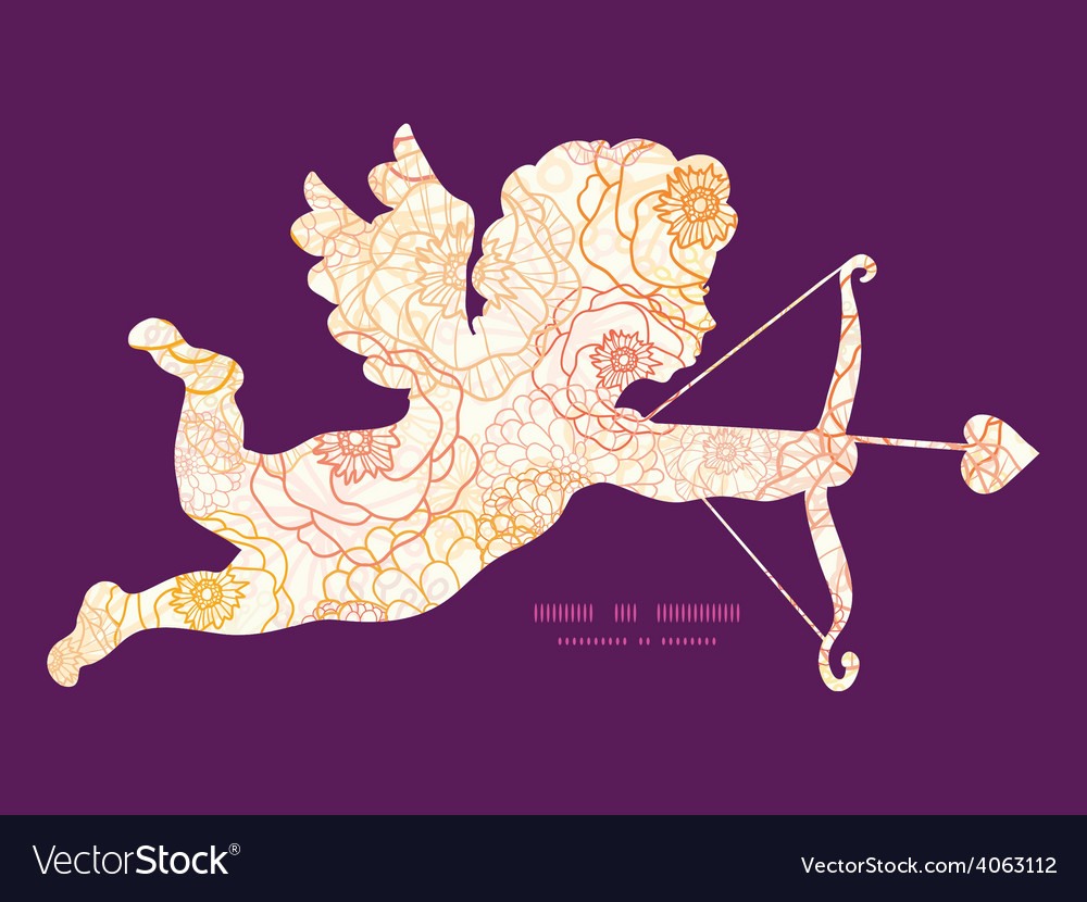 Warm flowers shooting cupid silhouette vector
