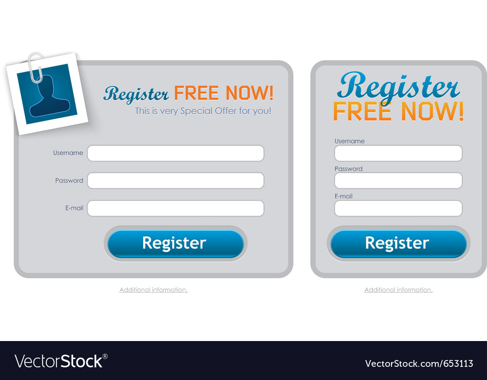 Clean registration form vector | Price: 1 Credit (USD $1)