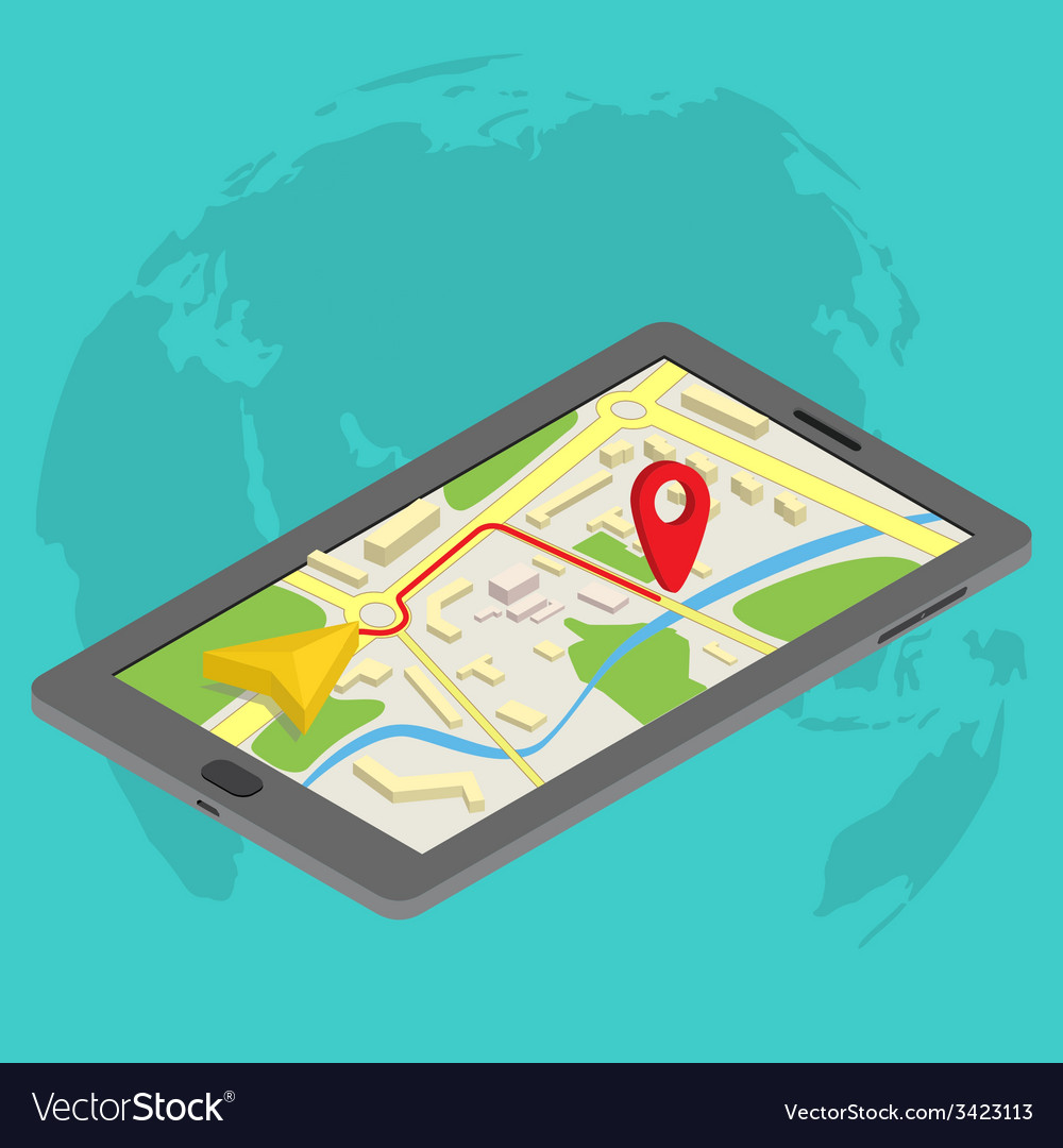 Flat 3d isometric mobile gps navigation maps vector | Price: 1 Credit (USD $1)