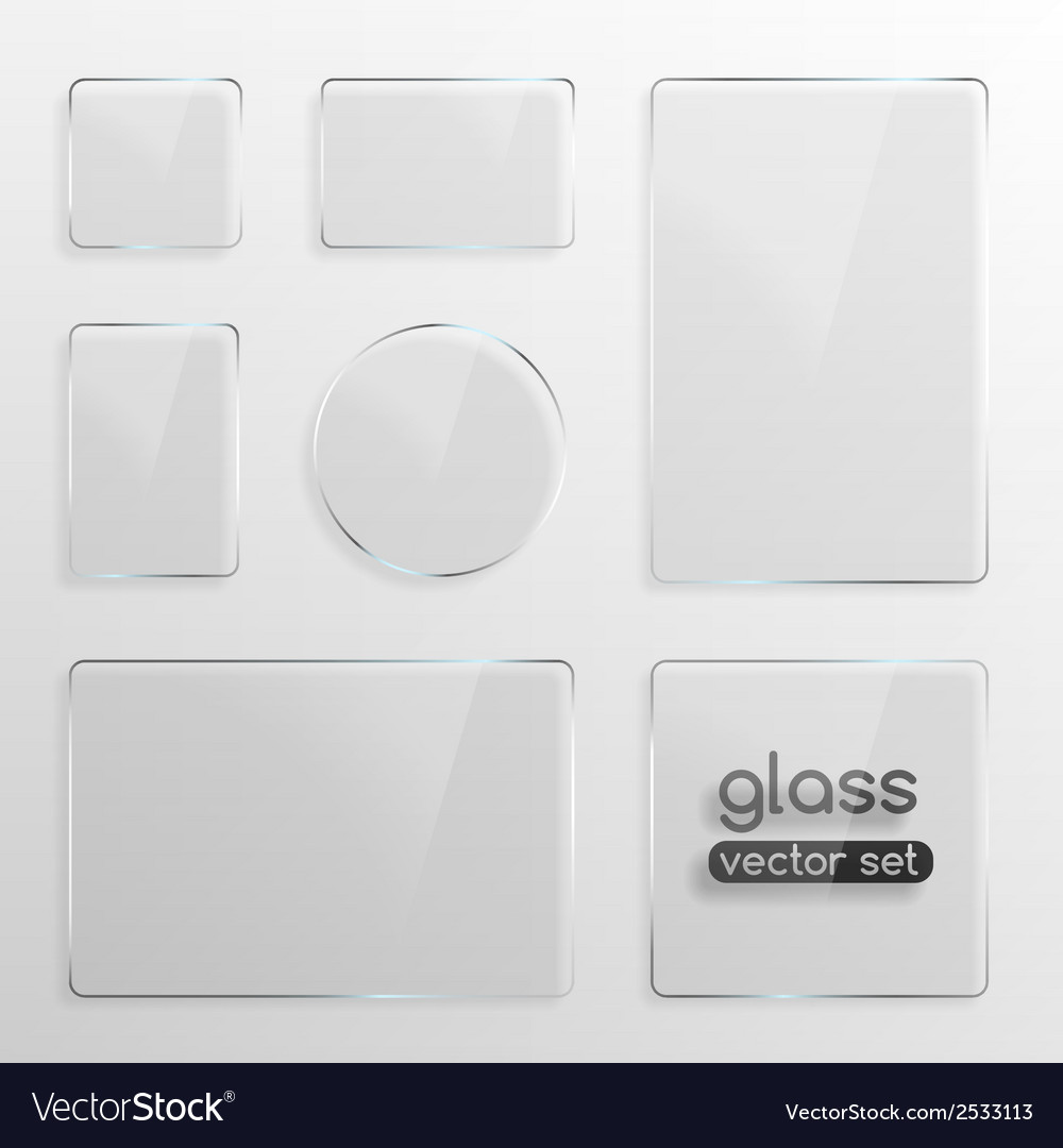 Glass plates set vector | Price: 1 Credit (USD $1)