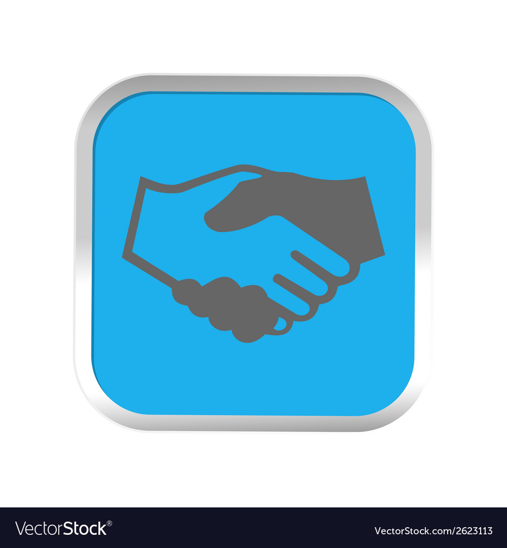 Handshake icon in sticker vector