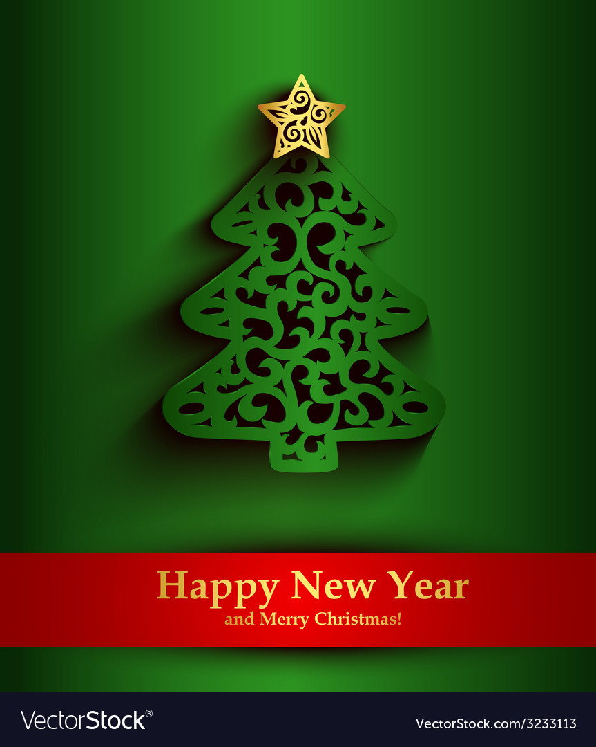 New year green greeting card with silhouette of vector | Price: 1 Credit (USD $1)