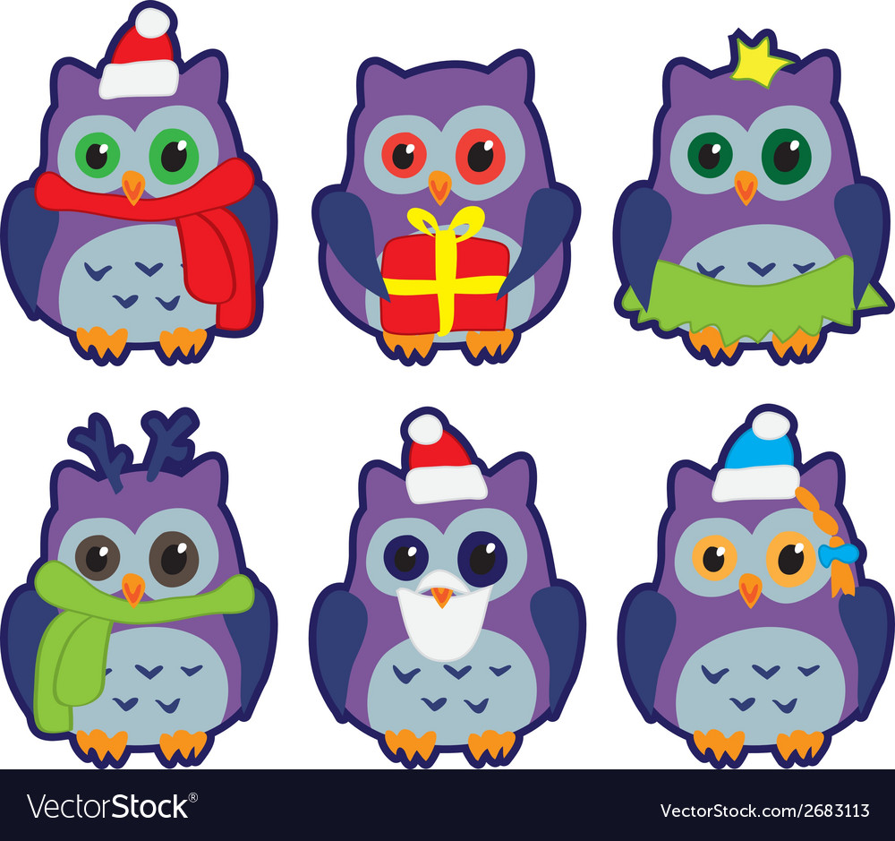 Owls in winter hats colored vector | Price: 1 Credit (USD $1)