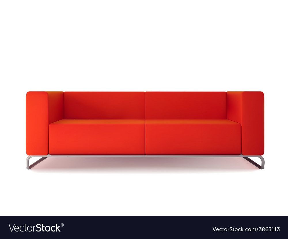 Red sofa isolated vector | Price: 1 Credit (USD $1)