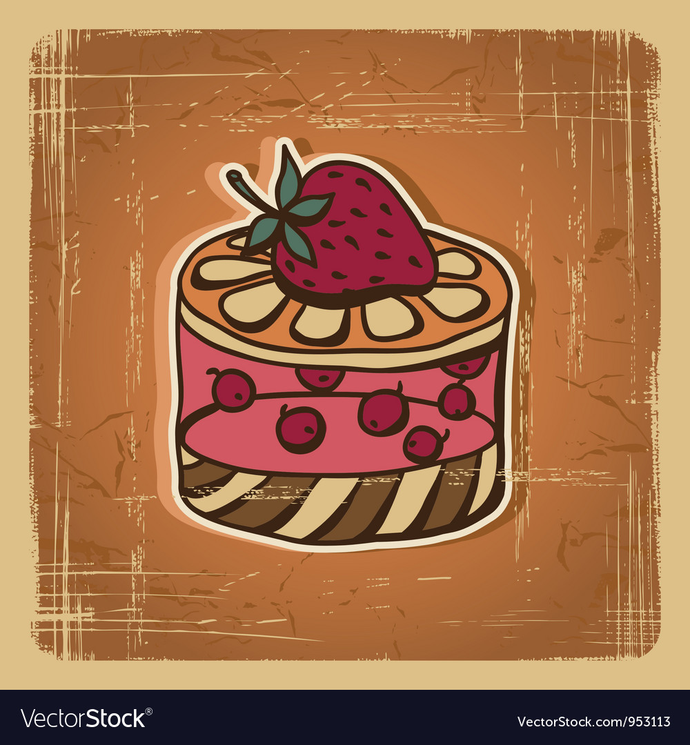 Retro cake background vector | Price: 1 Credit (USD $1)