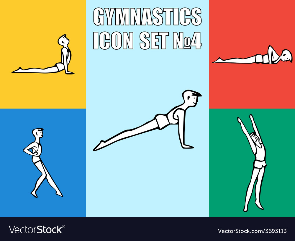 Set of yoga poses boy in recreation activities vector | Price: 1 Credit (USD $1)