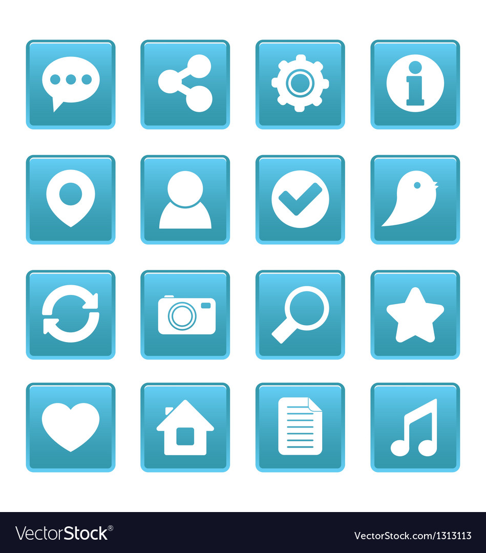 Social media icons on blue square vector | Price: 1 Credit (USD $1)