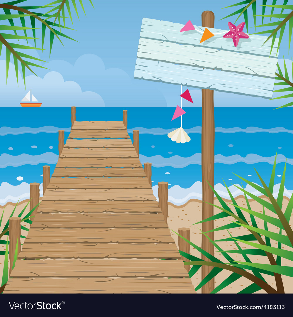 Summer dock on the beach with wood sign vector | Price: 3 Credit (USD $3)
