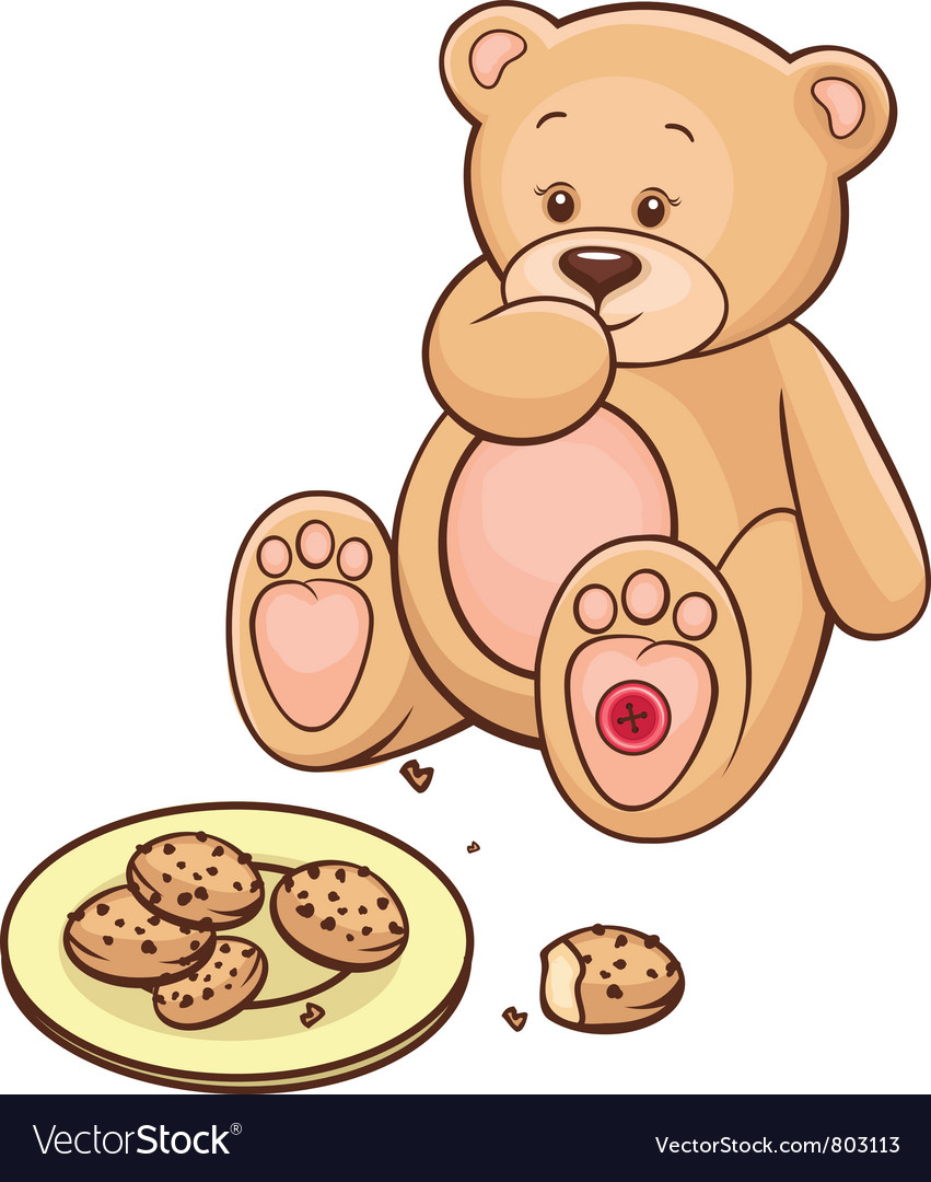 Teddy bear eating cookies vector | Price: 3 Credit (USD $3)