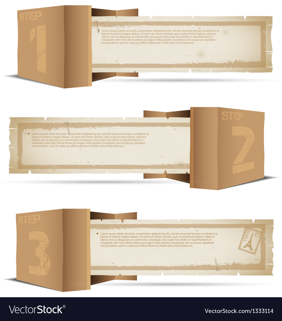 Box with old paper and stamps vector | Price: 1 Credit (USD $1)