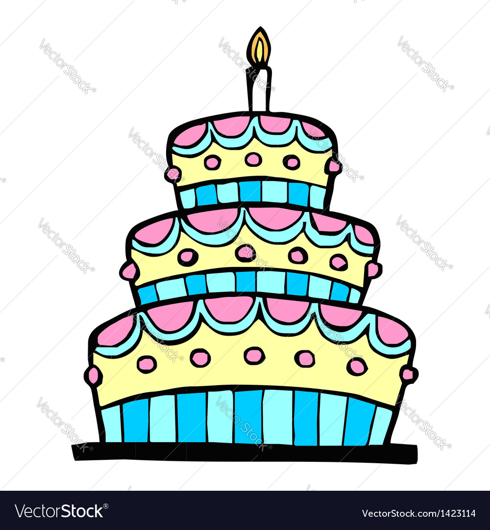 Colorful birthday cake vector | Price: 1 Credit (USD $1)