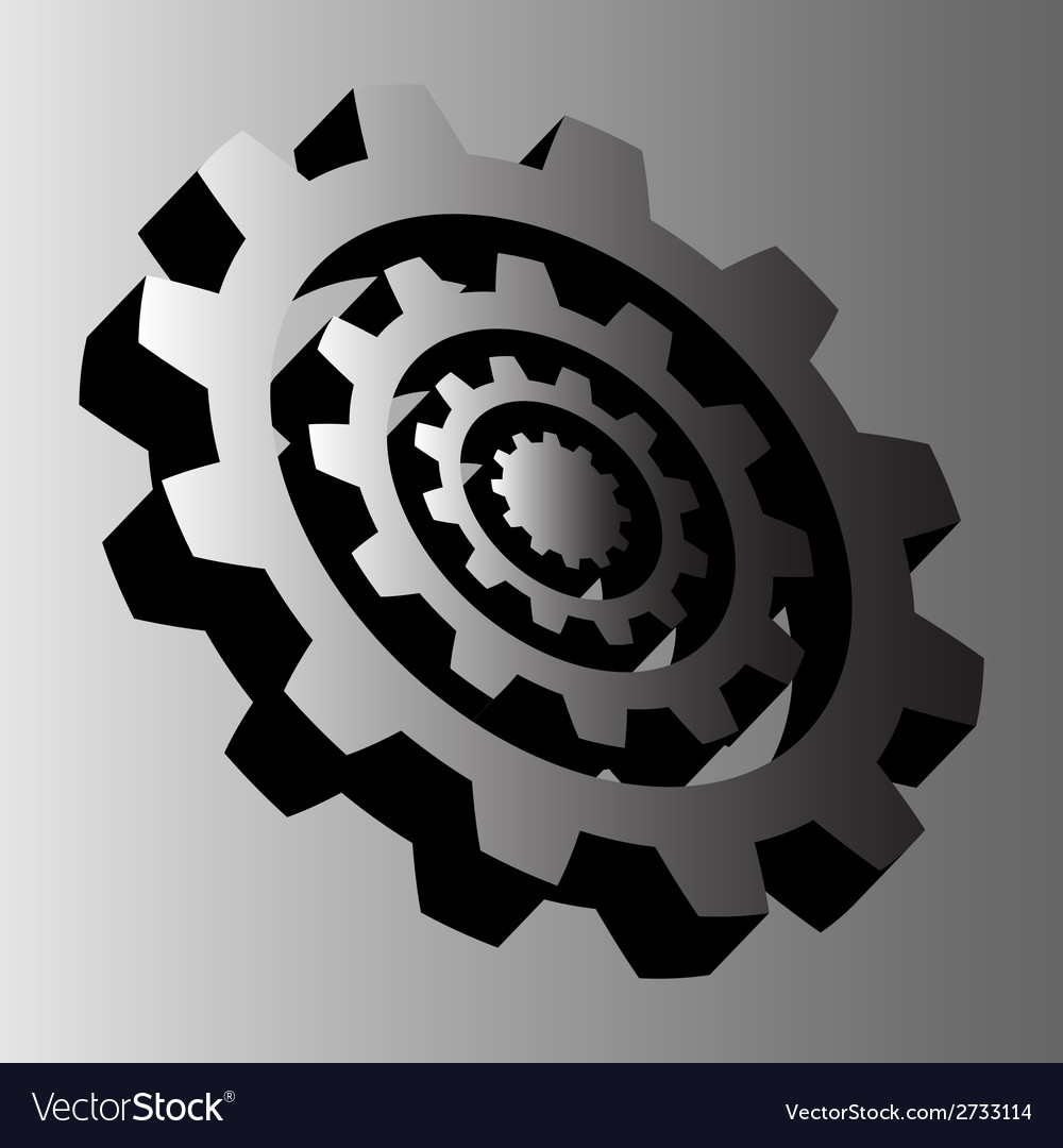 Four gray steel cogwheels vector | Price: 1 Credit (USD $1)