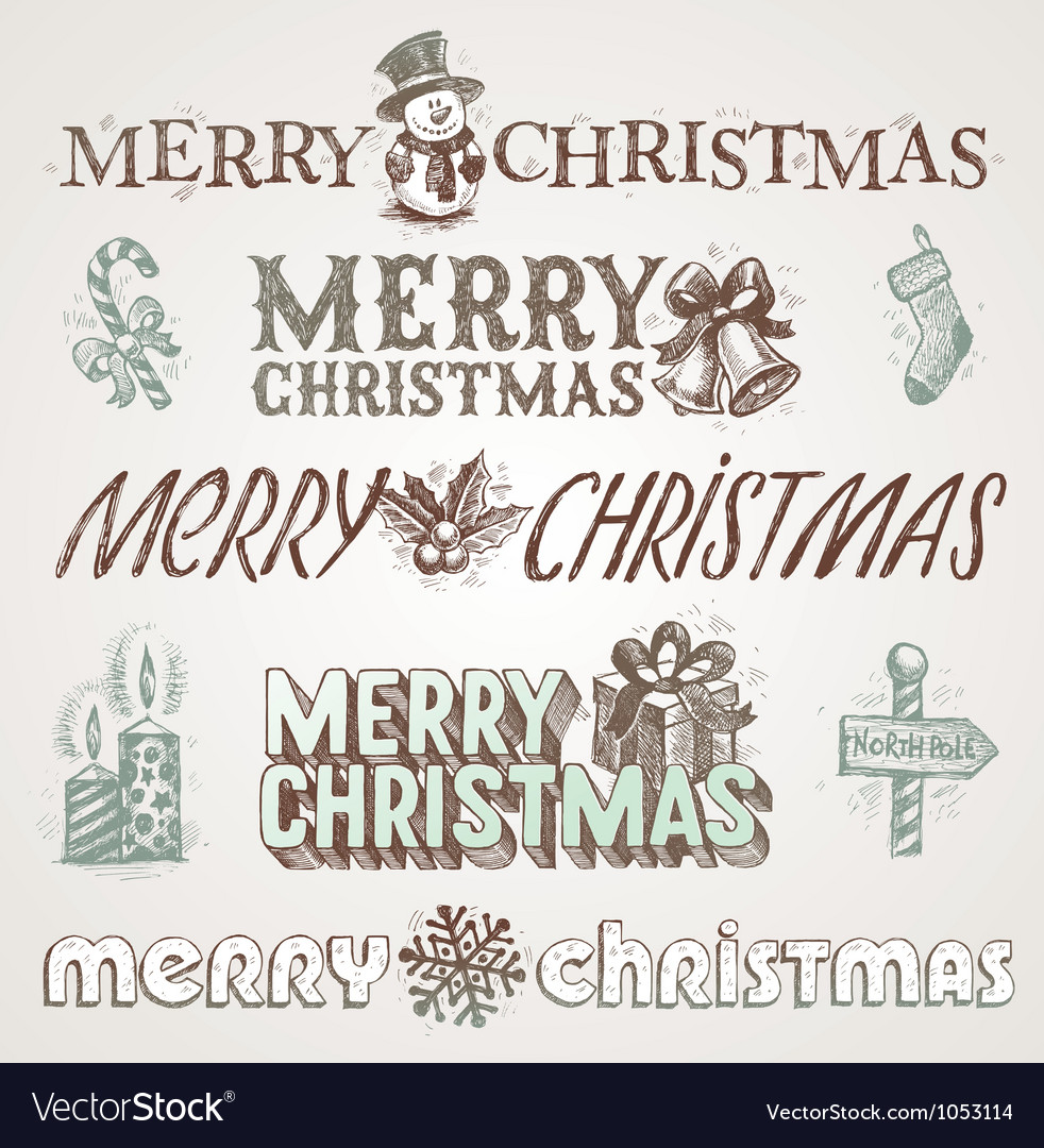Hand drawn christmas greetings and signs vector | Price: 1 Credit (USD $1)