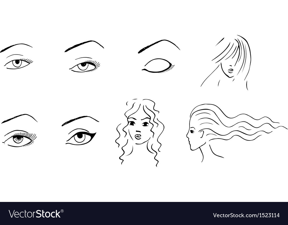 Hand drawn eyes and faces vector | Price: 1 Credit (USD $1)