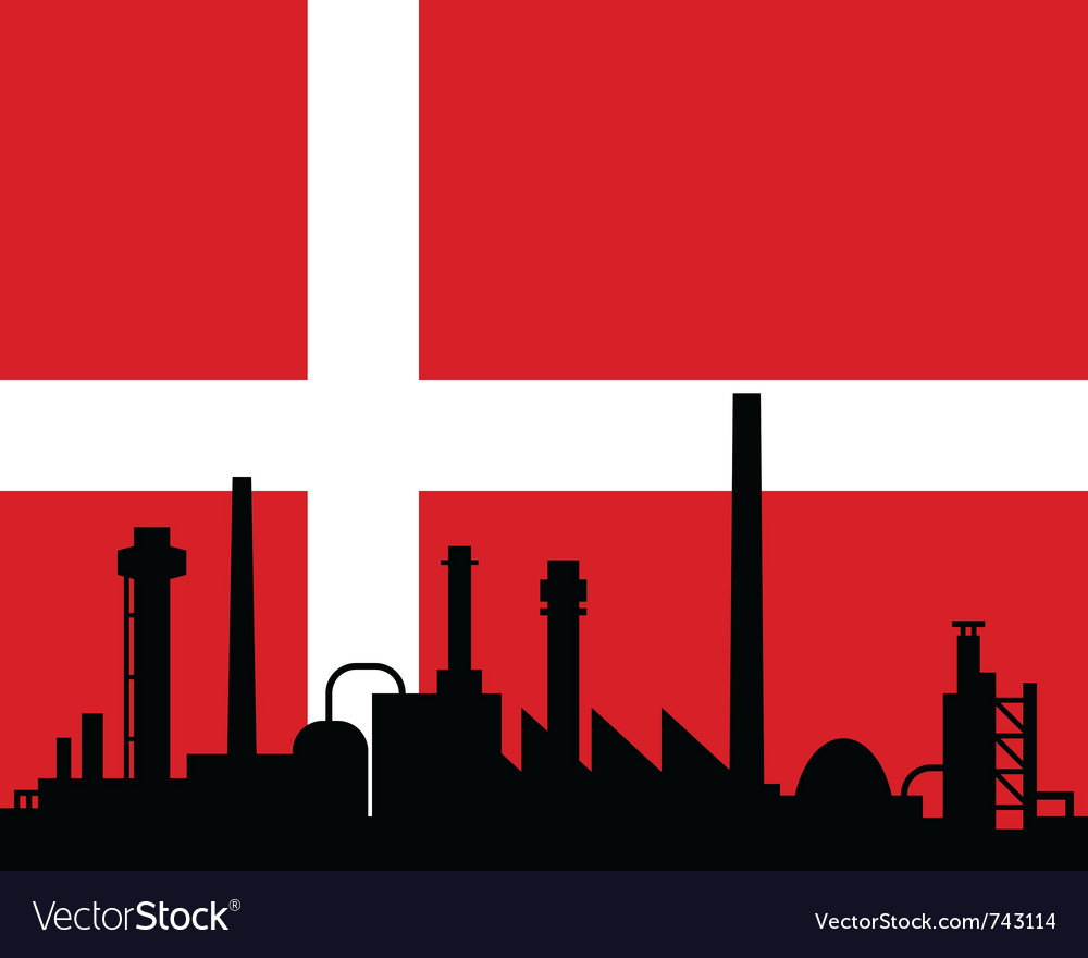 Industry and flag of denmark vector | Price: 1 Credit (USD $1)