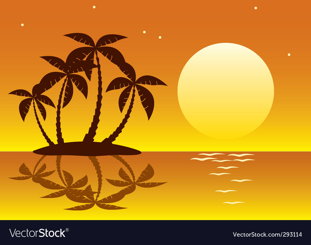 Tropical palm island vector   Price: 1 Credit (USD $1)