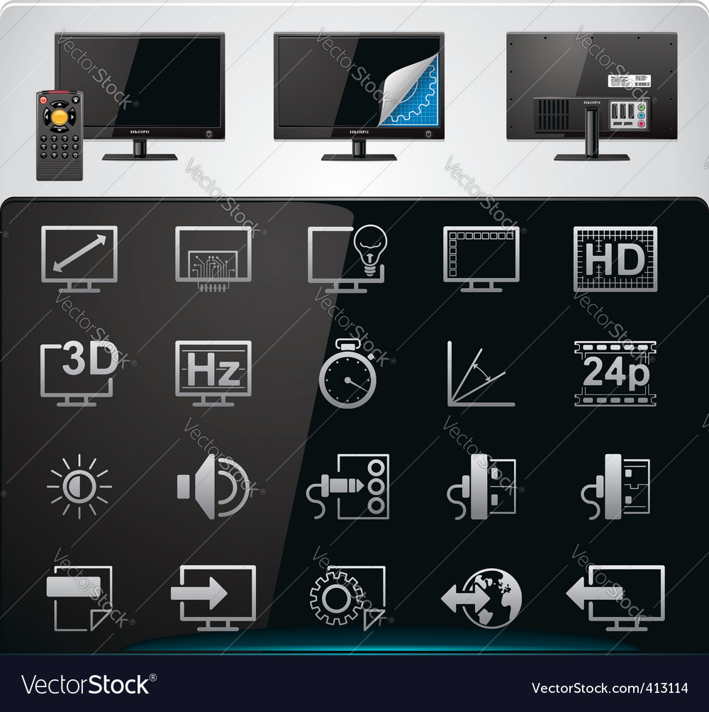 Tv features icon set vector | Price: 3 Credit (USD $3)