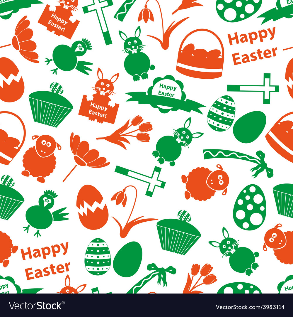 Various easter icons seamless color pattern eps10 vector | Price: 1 Credit (USD $1)