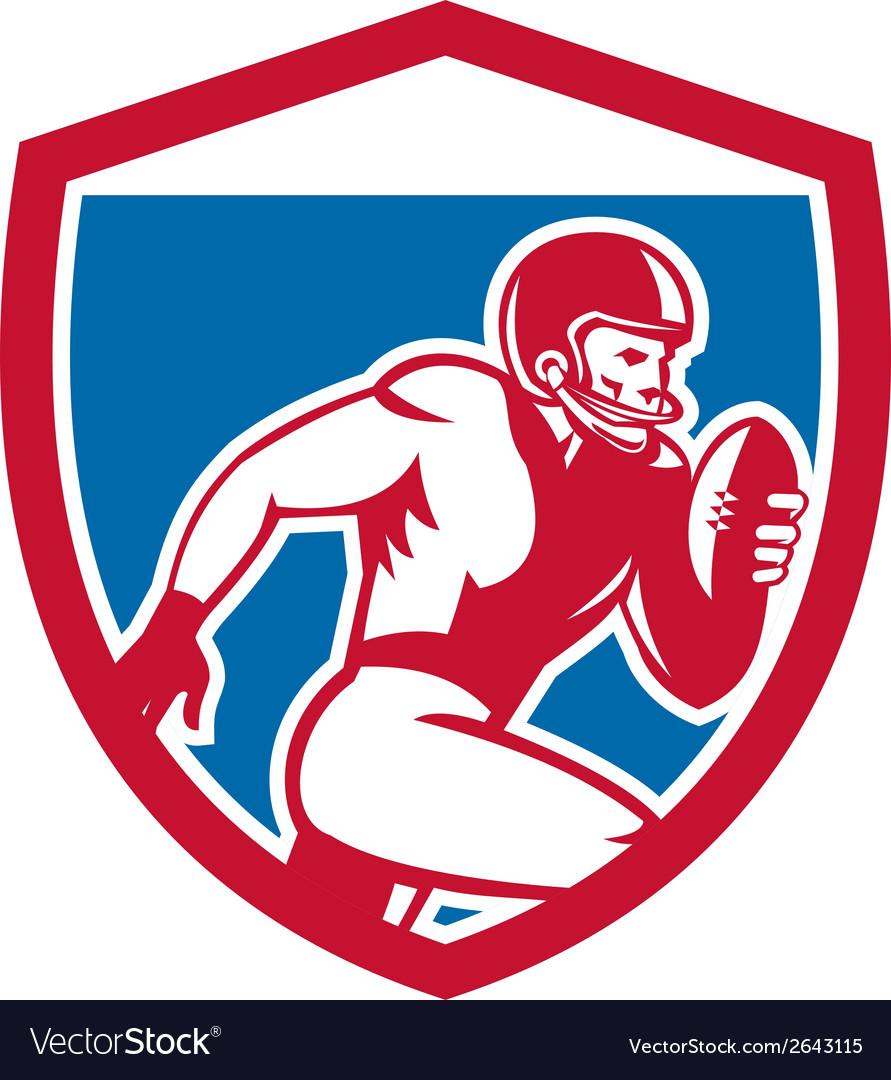 American football player running shield retro vector | Price: 1 Credit (USD $1)