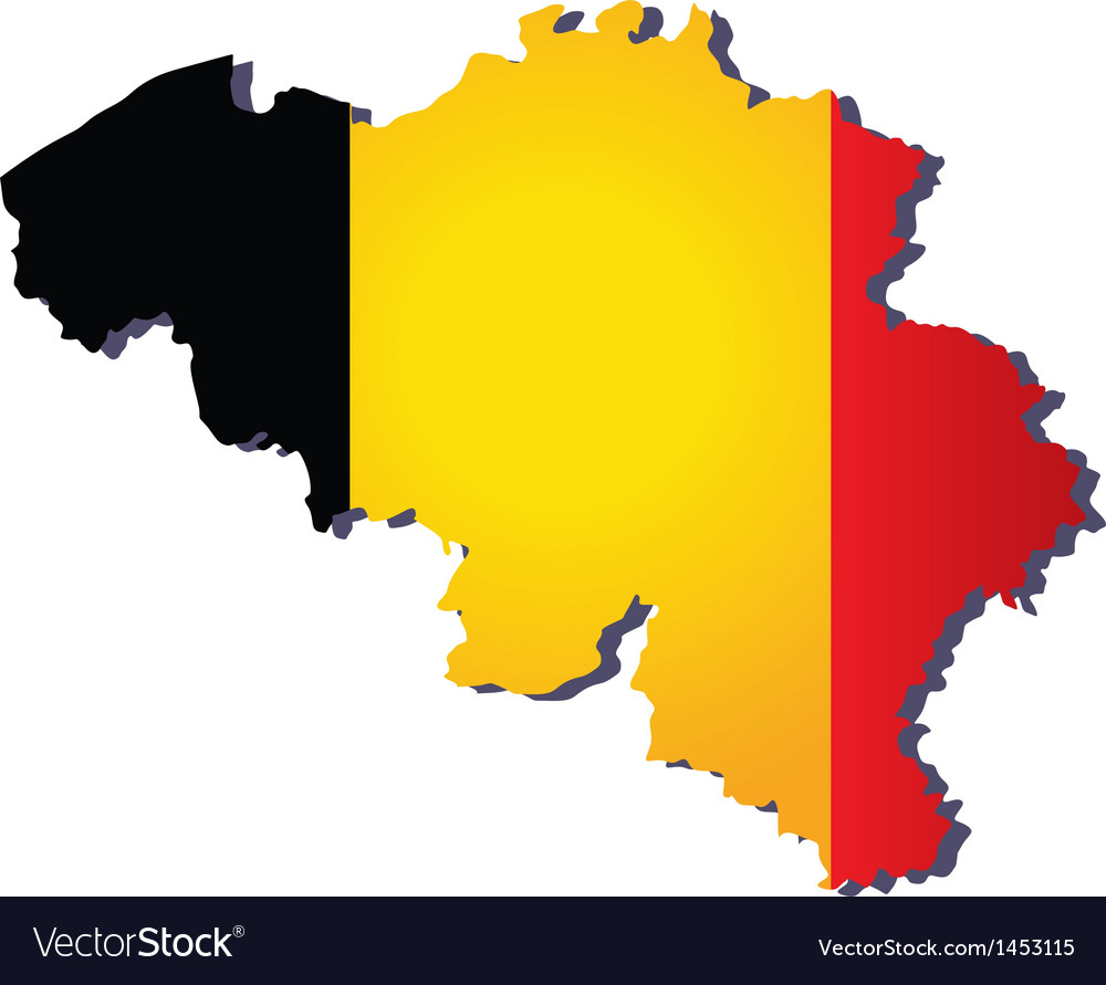 Belgium flag map vector | Price: 1 Credit (USD $1)