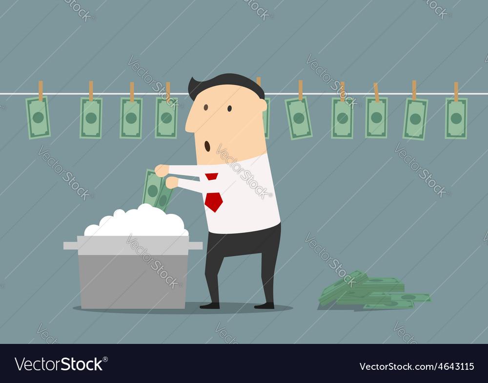 Cartoon businessman laundering illegal money vector | Price: 1 Credit (USD $1)