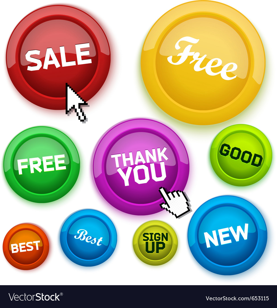 Cool glossy buttons for your business website vector | Price: 1 Credit (USD $1)