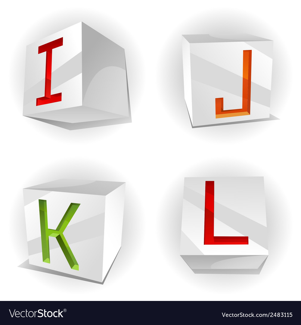 Cube alphabet letters ijkl vector | Price: 1 Credit (USD $1)