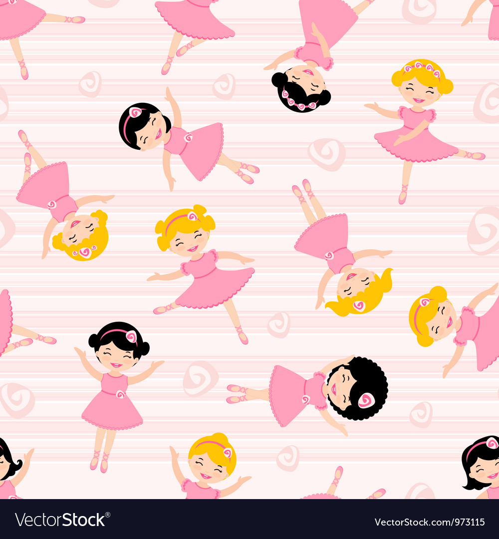 Cute ballerinas seamless pattern vector | Price: 3 Credit (USD $3)