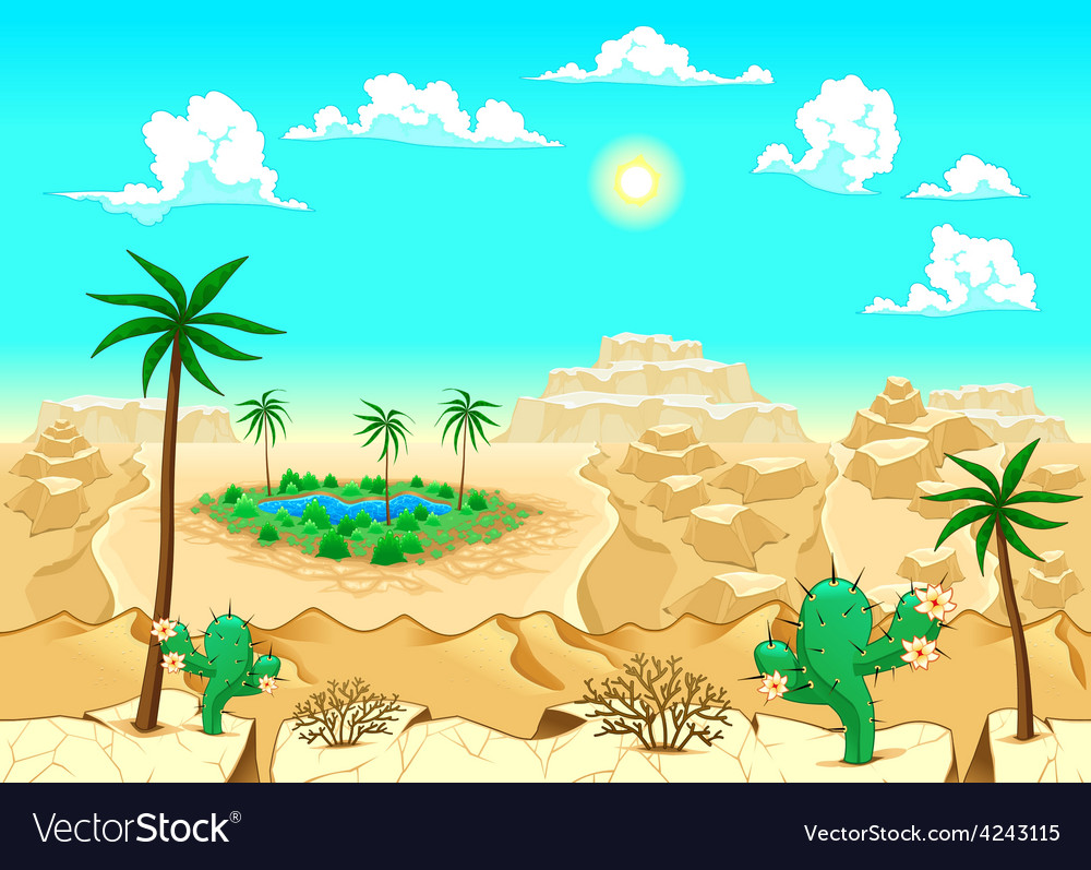 Desert with oasis vector | Price: 3 Credit (USD $3)