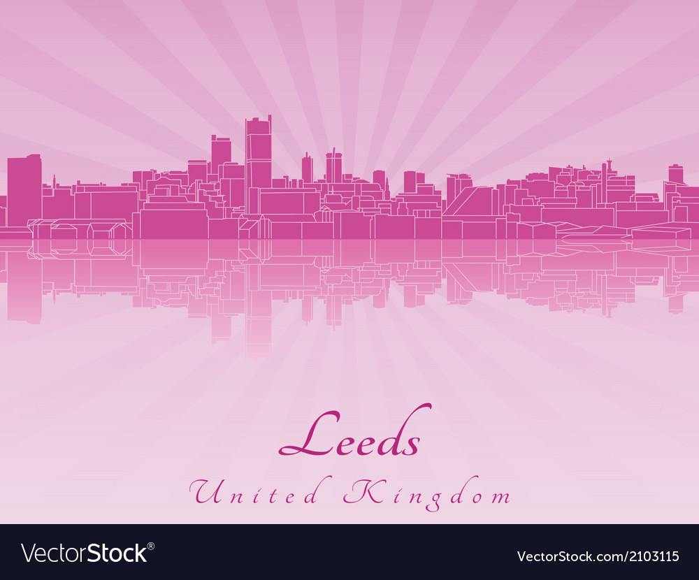 Leeds skyline in purple radiant orchid vector | Price: 1 Credit (USD $1)