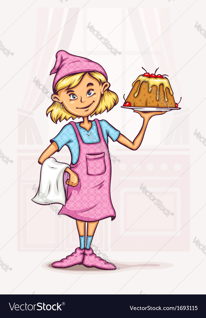 Little girl cooking sweet vector | Price: 1 Credit (USD $1)