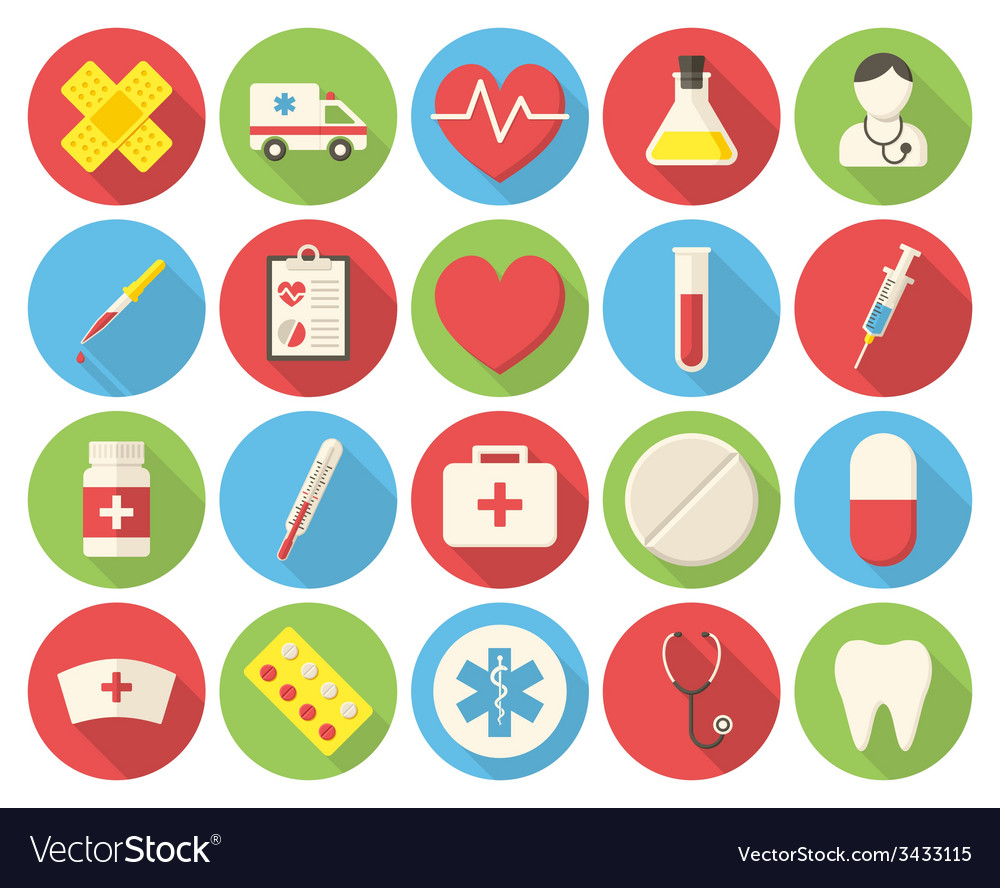 Medical round icons vector | Price: 1 Credit (USD $1)