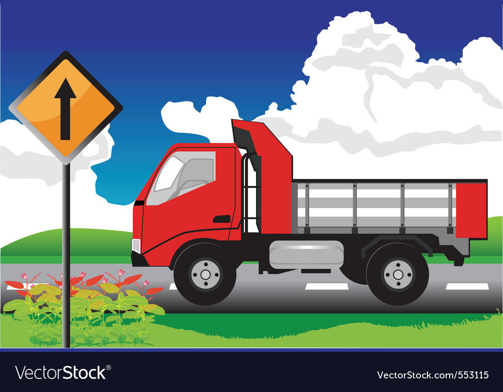 Red truck on the road with signs vector | Price: 1 Credit (USD $1)