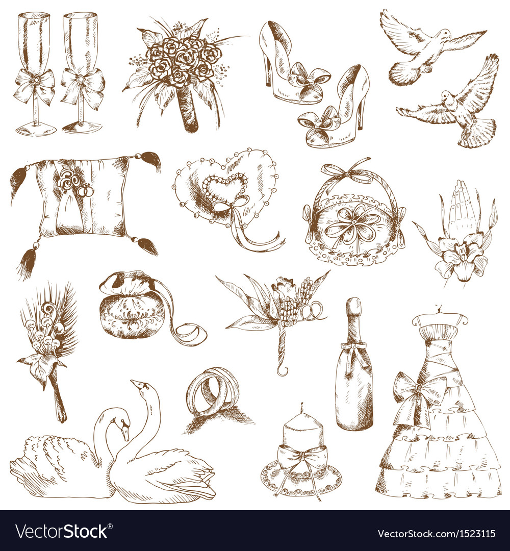Set of beautiful wedding hand drawn elements vector | Price: 1 Credit (USD $1)