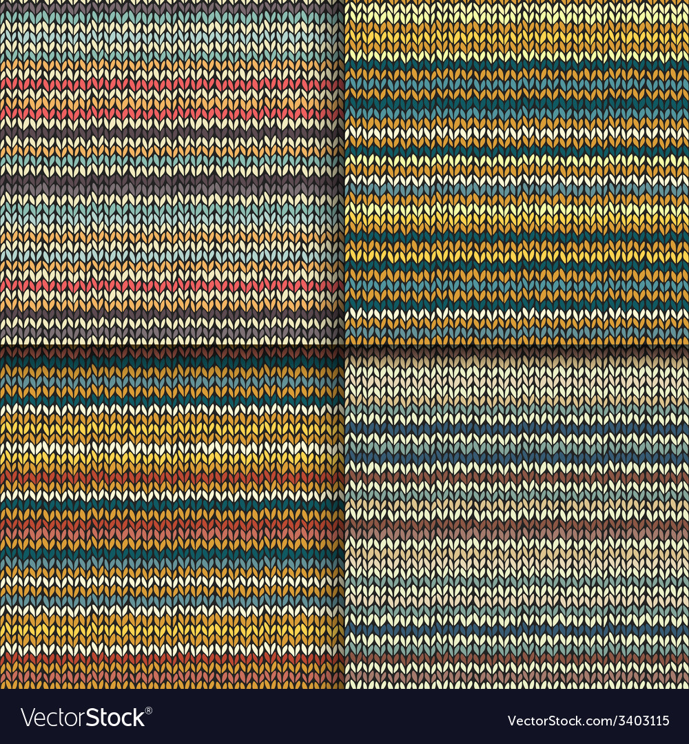 Set of seamless patterns with knitted stripes vector | Price: 1 Credit (USD $1)