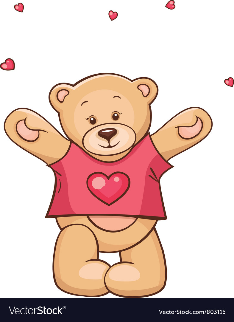 Teddy bear in heart t-shirt vector | Price: 3 Credit (USD $3)